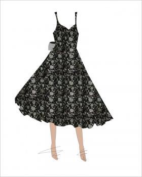 小礼服式烧花连衣裙