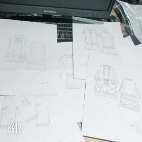 服装款式图,效果手绘图,