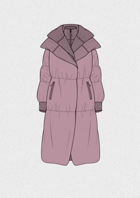 灰紫色长款羽绒服