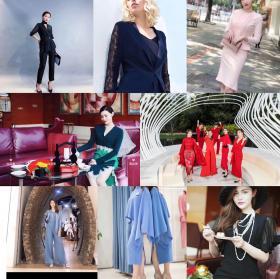 时尚职业套装,整体完整的日装,连衣裙,针织衫,衬衣,半群,裤子,胸针等