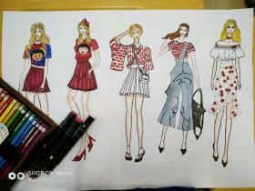 系列手绘服装效果图