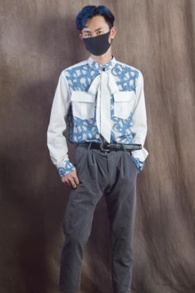 青花瓷商务休闲男衬衣直桶版型洋气