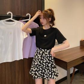 2119#春夏新款小雏菊t恤+短裙裙子两件套